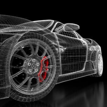 Car vehicle 3d blueprint mesh model with a red brake caliper on a black background. 3d rendered image